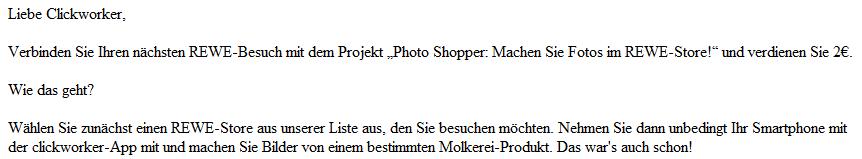 Clickworker Auftrag Rewe
