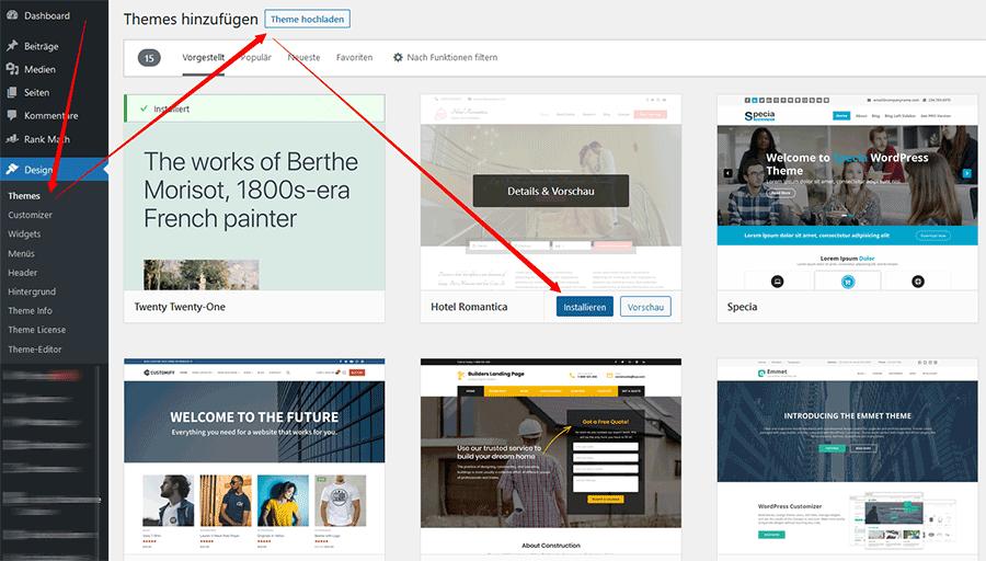 Wordpress Website Design auswählen